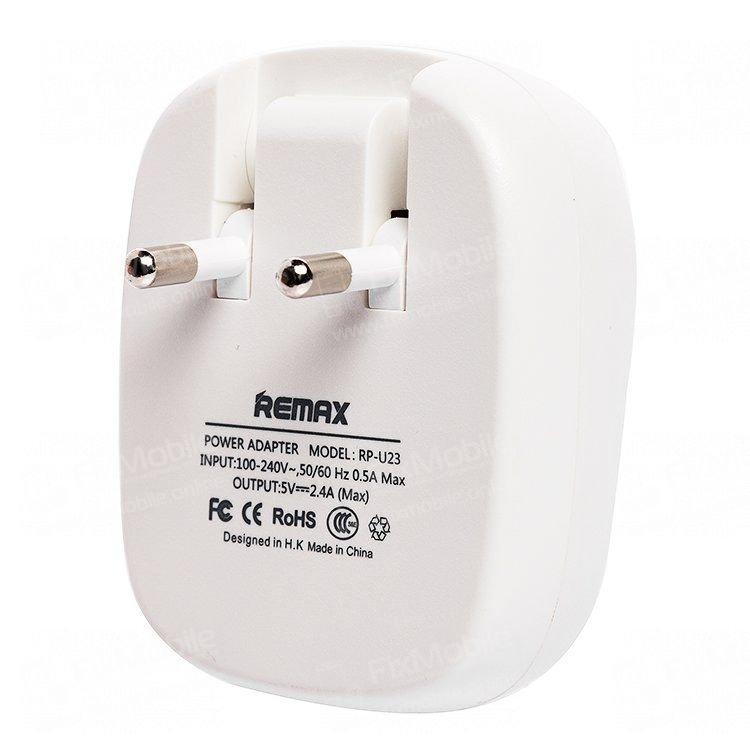 Сетевое зарядное устройство Remax RP-U23 2.4A 2USB (бело-голубое)